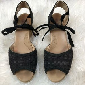 Ugg Delmar Sandals Wedge Espadrille Black 9.5